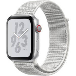 Watch Nike+ Series 4 (GPS + Cellular, 44mm, Silver Aluminum, Summit White Nike Sport Loop) Product Image