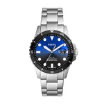 Mens FB-01 Black & Silver Stainles Steel Watch Black/Blue Dial Product Image