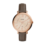 Ladies Jacqueline Brown Leather Strap Watch Rose Gold Dial Product Image