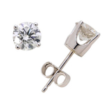 14k White Gold Diamond Solitaire Earrings .75twt Product Image