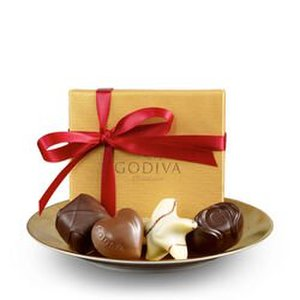 GODIVA 4 Piece Gold Party Favors w/Red Ribbon Product Image