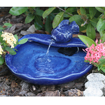 Ceramic Solar Koi Fountain Blue Product Image