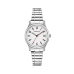 Ladies Silver-Tone Stainless Steel Comfort-Fit Watch White Dial Product Image