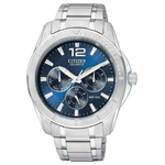 Mens Quartz Stainless Steel Watch Blue Dial Product Image