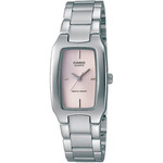 Ladies Silver-tone Stainless Steel Watch Pink Rectangle Dial Product Image
