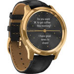 vivomove Luxe Hybrid Smartwatch (42mm, 24K Gold PVD Stainless Steel Case, Leather Band) Product Image