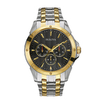 Mens Two-Tone Stainless Steel Watch Black Dial Product Image