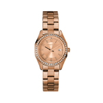 Ladies Crystal Rose Gold-Tone Stainless Steel Bracelet Watch Rose Gold Dial Product Image