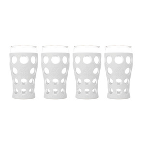 4pc 20oz Beverage Glass Set Optic White Product Image