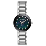 Ladies Modern Silver-Tone Stainless Steel Watch Black Mother-of-Pearl Product Image