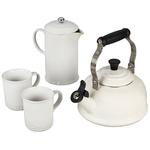 27oz Stoneware French Press & Mug Set White Product Image