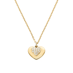 Sterling Gold Pave Heart Necklace Product Image