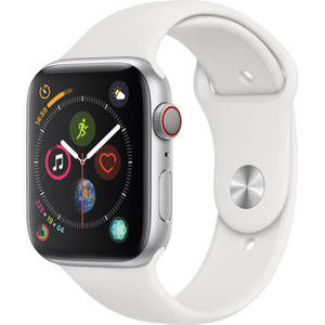 Watch Series 4 (GPS + Cellular, 44mm, Silver Aluminum, White Sport Band) Product Image