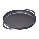 "10"" Cast Iron Round Double Handle Pure Griddle Pan Matte Black Product Image"