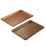 3pc Bakeware Set Copper - 2 Cookie Pans w/ Cooling Rack Product Image