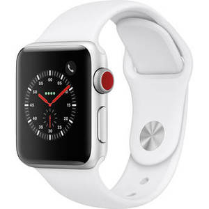 Watch Series 3 38mm Smartwatch (GPS + Cellular, Silver Aluminum Case, White Sport Band) Product Image