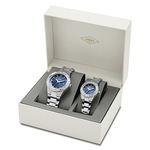 His & Hers Fossil Gift Set: Large & Small Blue Watches Product Image