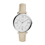Ladies Jacqueline Beige Leather Strap Watch White Dial Product Image