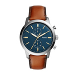 Mens Townsman Chronograph Brown Leather Watch Dark Blue Dial Product Image