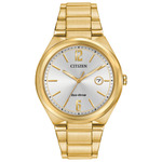 Mens Corporate Exclusive Eco-Drive Gold Stainless Steel Watch Gold Dial Product Image