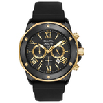 Mens Marine Star Black Silicone Strap Watch Gold/Black Dial Product Image