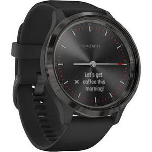 vivomove 3 Hybrid Smartwatch (44mm, Slate Stainless Steel Bezel /Black Case, Silicone Band) Product Image