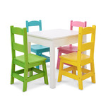 5pc Wooden Table & Chairs Set - White Table Pastel Chairs Product Image