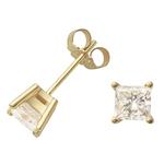 Yellow Gold Princess Cut Diamond Earrings Product Image