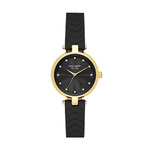 Ladies Annadale Gold-Tone & Black Leather Strap Watch Black Dial Product Image