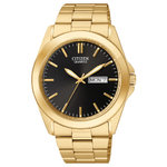 Mens Quartz Gold-Tone Stainless Steel Watch Black Dial Product Image