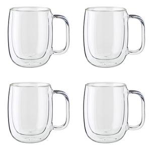 Sorrento 4pc Double Wall Glass Coffee Mug Set Product Image