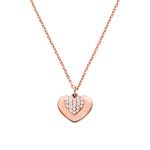 Sterling Rose Gold Pave Heart Necklace Product Image