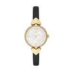 Ladies Hollis Gold & Black Leather Strap Watch Mother-of-Pearl Dial Product Image