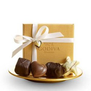 GODIVA 4 Piece Gold Party Favors w/White Ribbon & Heart Charm Product Image