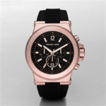 Michael Kors Chronograph Dylan Black Silicone Watch Product Image