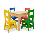 5pc Wooden Table & Chairs Set Primary Colors Product Image