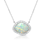 Deco Opal & White Sapphire Necklace Product Image