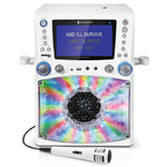 "Bluetooth Karaoke Machine w/ 7"" LCD Monitor White Product Image"