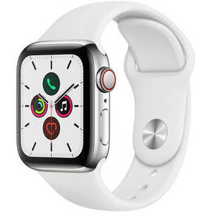 Watch Series 5 (GPS + Cell, 40mm, Stainless Steel, White Sport Band) Product Image