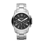 Mens Grant Silver-Tone Stainless Steel Watch Black Dial Product Image