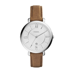 Ladies Jacqueline Brown Leather Strap Watch White Dial Product Image