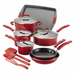 14pc Hard Enamel Nonstick Cookware Red Gradient Product Image