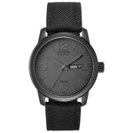 Mens Black Canvas Strap Eco-Drive Watch Black Dial Product Image