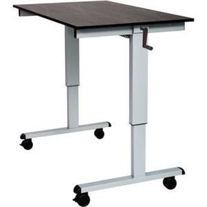 """48"""" Crank Adjustable Stand-Up Desk (Black Oak Desk, Silver Frame) Product Image"""