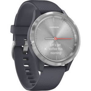 vivomove 3S Hybrid Smartwatch (39mm, Silver Stainless Steel Bezel/Granite Blue Case, Silicone Band) Product Image