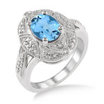 Blue Topaz & Diamond Ring Size 6 Product Image