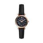 Ladies Carlie Mini Rose Gold & Black Leather Strap Watch Black Dial Product Image