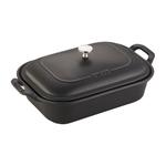 4qt Ceramic Rectangular Covered Baking Dish Matte Black Product Image