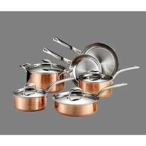 Martellata Hammered Copper 10-Piece Cookware Set Product Image