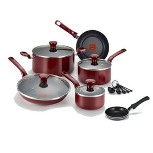 Excite Non-Stick 14-Piece Cookware Set plus Specialty Non-Stick One-Egg Wonder Package - Red Product Image